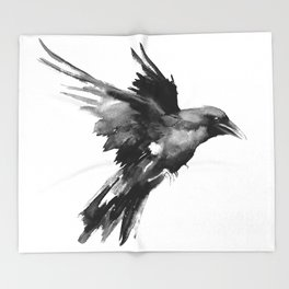 Flying Raven. tribal raven lover black and white raven decor Throw Blanket