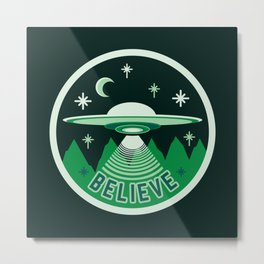UFO Believe Metal Print