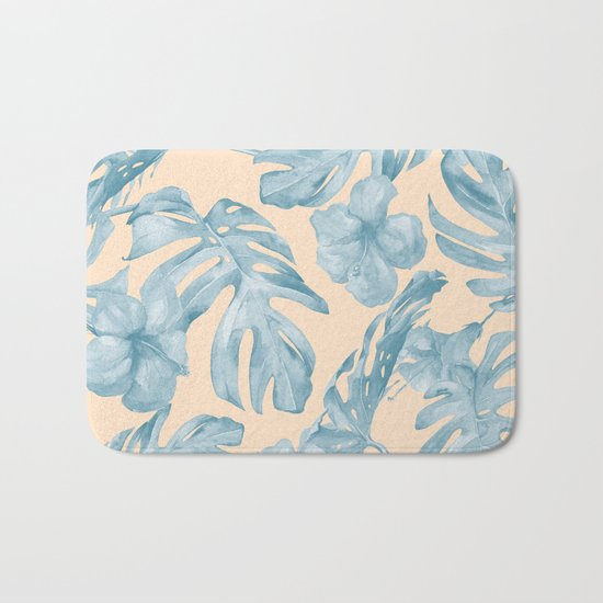 Tropical Leaves Sky Blue on Mango Coral Bath Mat