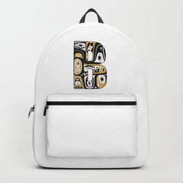 Northwest Pacific Coast American Native Totem Letter B Backpack