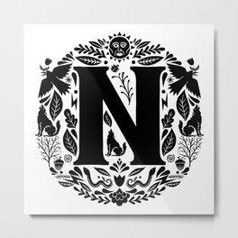 Letter N monogram wildwood Metal Print