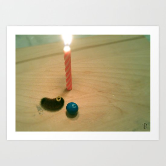 Caterpillar Birthday Party (The Candle) Art Print