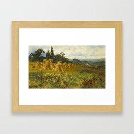 John Horace Hooper , Harvest time, near Godalming Framed Art Print