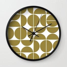 Mid Century Modern Geometric 04 Flat Gold Wall Clock