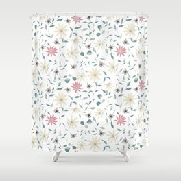 Floral Bee Print Shower Curtain