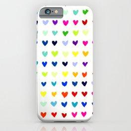 Multicolored Rainbow Hearts iPhone Case