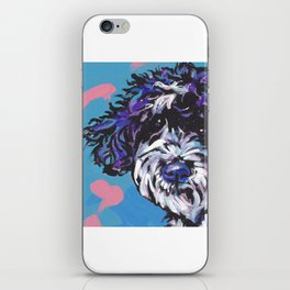 PWD Portuguese Water Dog Fun bright colorful Pop Art Dog Paintingby Lea iPhone Skin
