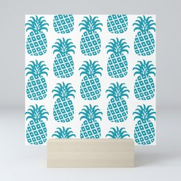 Retro Mid Century Modern Pineapple Pattern Turquoise Mini Art Print