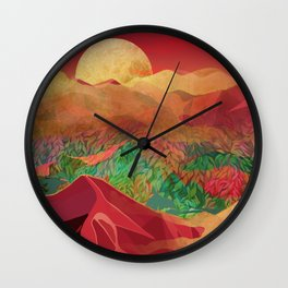 """""""Tropical golden sunset over fantasy pink forest"""" Wall Clock"""
