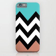 AQUA & DARK CORAL CHEVRON COLORBLOCK Slim Case iPhone 6s