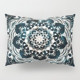 Glowing Spirit Mandala Blue White Pillow Sham