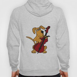 FunnyBrown Dog Playing Red Cello Artwork Hoody