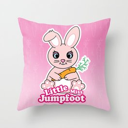 Little Miss Jumpfoot Throw Pillow