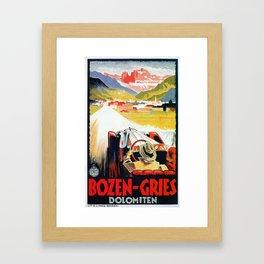 Bozen Gries Italian Alps retro convertible car Framed Art Print