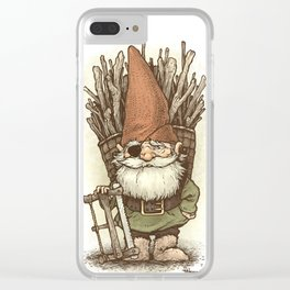 Gnome Woodcutter Clear iPhone Case