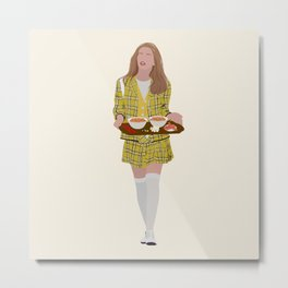 Clueless Movie Portrait - 90's Icon in Yellow Plaid Snacking Metal Print