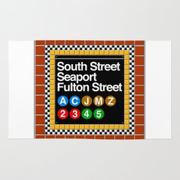 subway south street seaport sign Rug