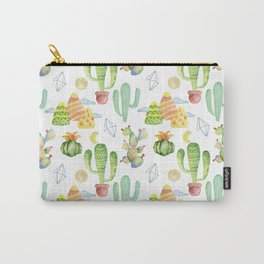 Modern green yellow geometric watercolor cactus pattern Carry-All Pouch