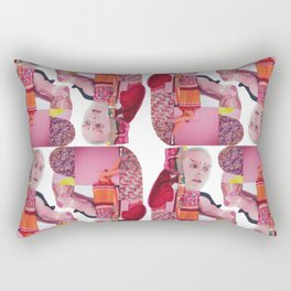 pinky was ready - a pink and red modern collage Rectangular Pillow