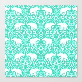 Elephant Damask Mint Canvas Print