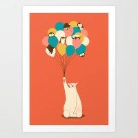 penguin Art Prints featuring Penguin Bouquet by Jay Fleck