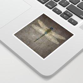 Dragonfly On Distressed Metallic Grey Background Sticker