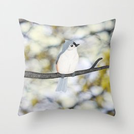 tufted titmouse - bokeh Throw Pillow