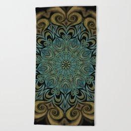Teal and Gold Mandala Swirl Beach Towel