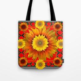 RED-GREY DECO YELLOW SUNFLOWERS MODERN ART Tote Bag