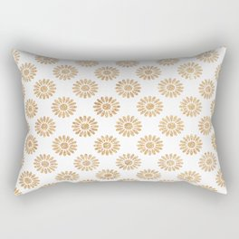 Trendy white faux gold glitter daisies floral pattern Rectangular Pillow
