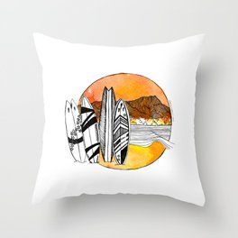 Surfing Diamond Head - Hawaii 2020 Throw Pillow