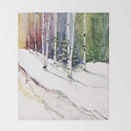 4 Season Watercolor Collection - Winter Throw Blanket
