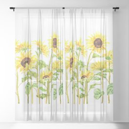 sunflowers watercolor horizontal  Sheer Curtain