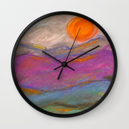 Abstract Mountain Landscape with Pastels Wall Clock