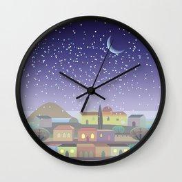 Snowing Village at Night Wall Clock