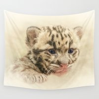 leopard Wall Tapestries featuring CUTE CLOUDED LEOPARD CUB by Catspaws