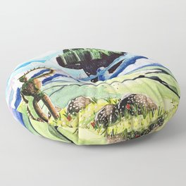Laputa, Relaxing Dreamy Cloud, Blue Sky, Green Scenery Painting, Japanese animation Floor Pillow