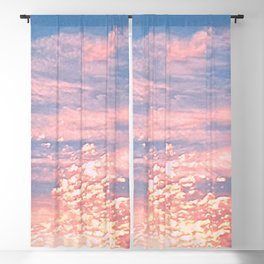 Pink Clouds in Bright Blue Sky Blackout Curtain
