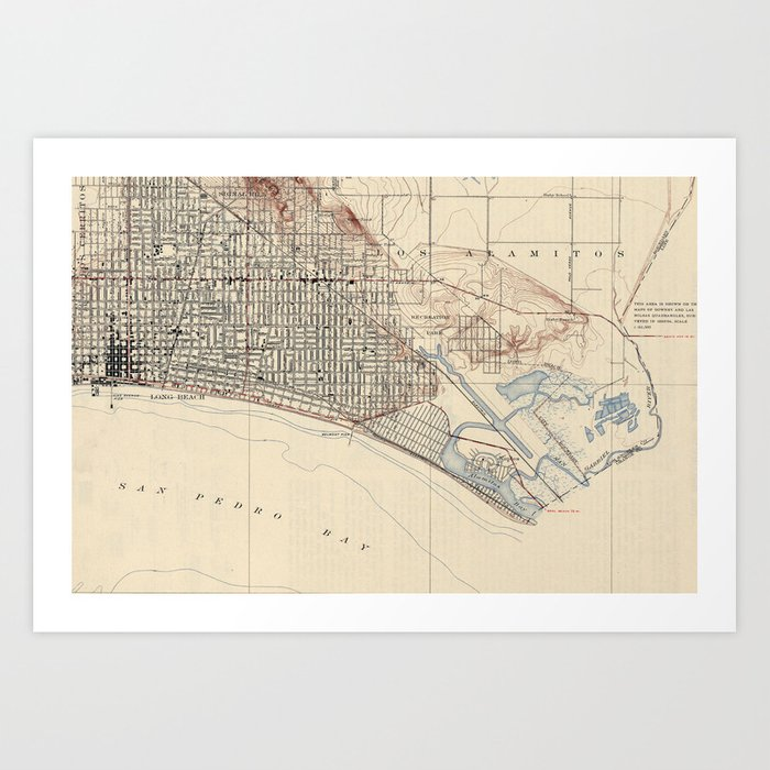 Vintage Map of Long Beach California (1923) Art Print by bravuramedia