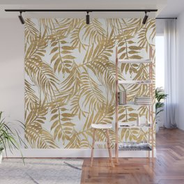Elegant tropical gold white palm tree leaves floral Wall Mural