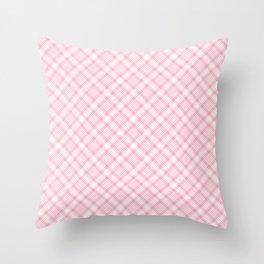 Light Pink Diagonal Plaid Pattern Throw Pillow