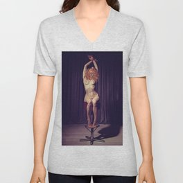 Tied up nude woman on a bar stool Unisex V-Neck