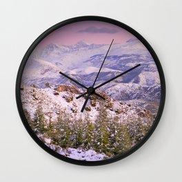 Sierra  nevada mountains at pink sunset Wall Clock