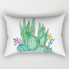 Cacti and succulents . Watercolor . Rectangular Pillow
