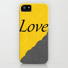 Gray and Yellow Love iPhone Case