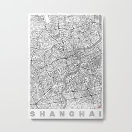 Shanghai Map Line Metal Print