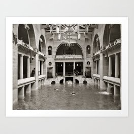 Vintage photo - Pool inside hotel Art Print