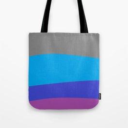 Gray Blue Purple Waves Tote Bag