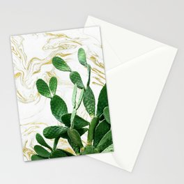 Cactus Opuntia - gold marble Stationery Cards