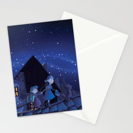 the night on the roofs of Paris Stationery Cards